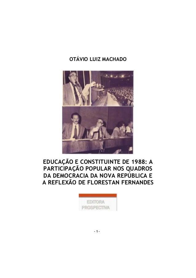 - 1 - OTÁVIO LUIZ MACHADO EDUCAÇÃO E CONSTITUINTE DE 1988: A PARTICIPAÇÃO POPULAR NOS QUADROS DA DEMOCRACIA DA NOVA REPÚBL...