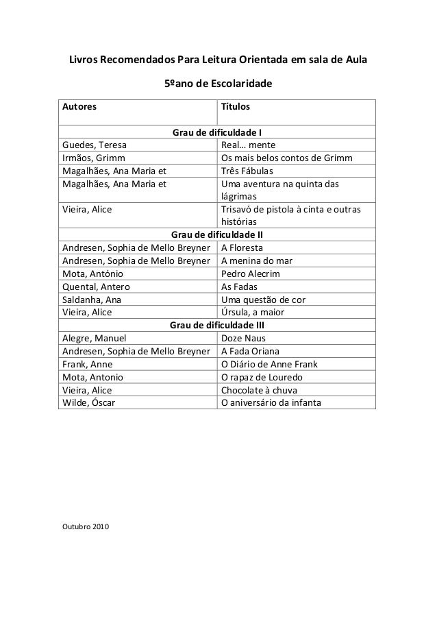 Livros Recomendados Para Leitura Orientada em sala de Aula 5ºano de Escolaridade Autores  Títulos  Grau de dificuldade I G...