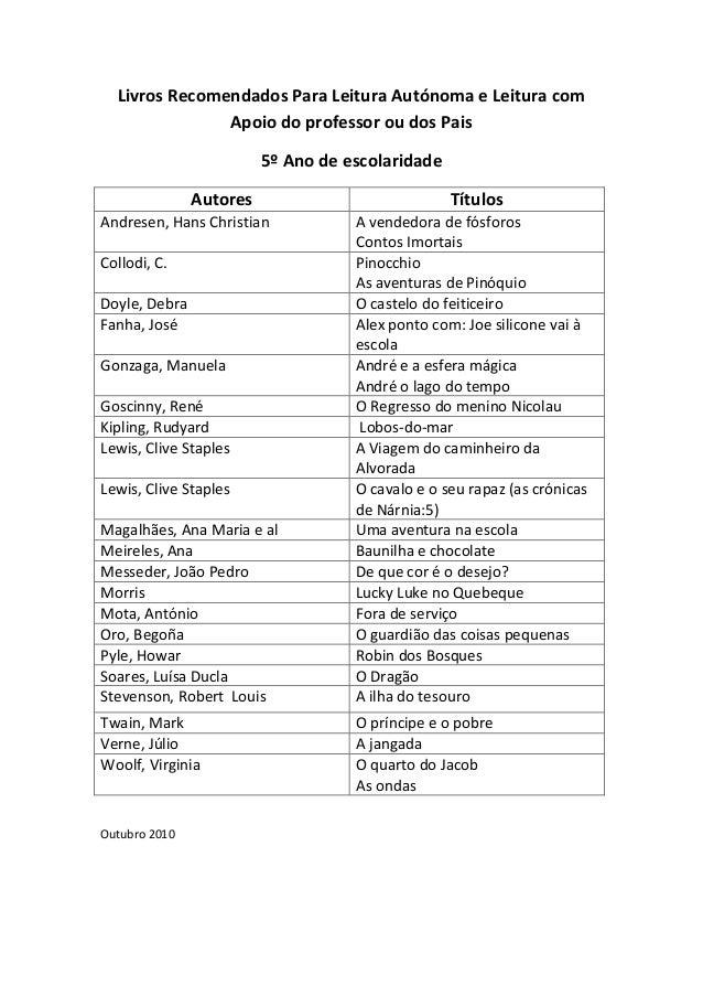 Livros Recomendados Para Leitura Autónoma e Leitura com Apoio do professor ou dos Pais 5º Ano de escolaridade Autores Andr...