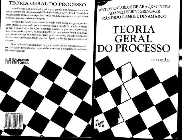 TEORIA GERAL DO PROCESSO N10 CARLOS DE ARAÚJO CINTRA A unificação dos estudos dos principios gerais,  dos fundamentos e do...