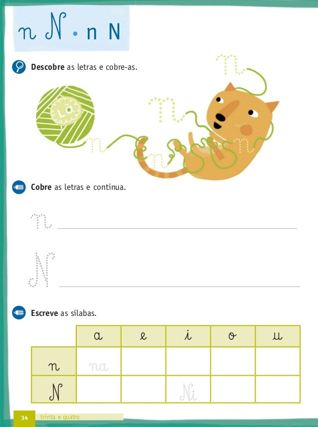 38 trinta e oito b B b B Descobre as letras e cobre-as. Cobre as letras e continua. Escreve as sílabas. a @e i o † b B ...