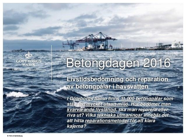 © Port of Gothenburg© Port of Gothenburg Betongdagen 2016 Livstidsbedömning och reparation av betongpålar i havsvatten I G...