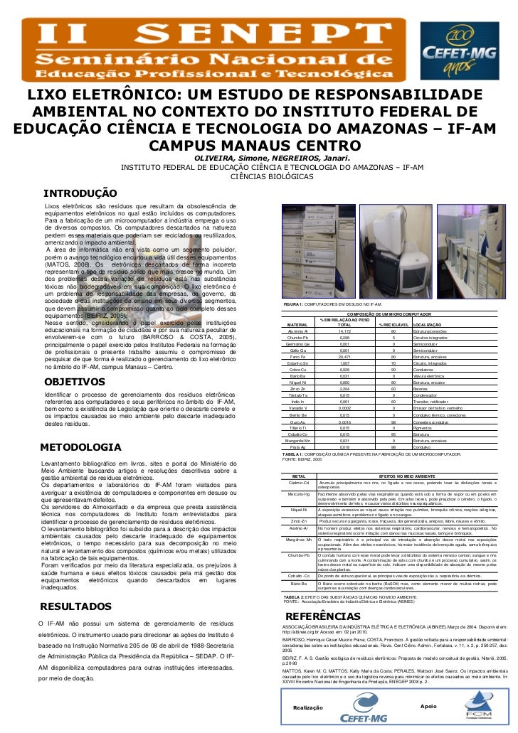 LIXO ELETRÔNICO: UM ESTUDO DE RESPONSABILIDADE  AMBIENTAL NO CONTEXTO DO INSTITUTO FEDERAL DEEDUCAÇÃO CIÊNCIA E TECNOLOGIA...