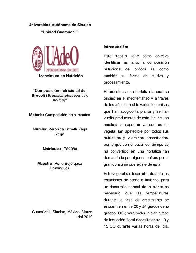 """Universidad Autónoma de Sinaloa """"Unidad Guamúchil"""" Licenciatura en Nutrición """"Composición nutricional del Brócoli (Brassic..."""
