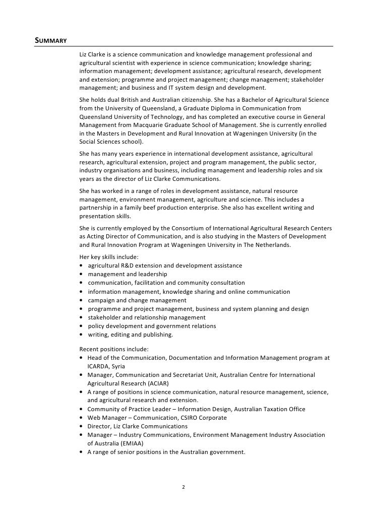 liz clarke resume dec2010 - Agriculture Scientist Resume