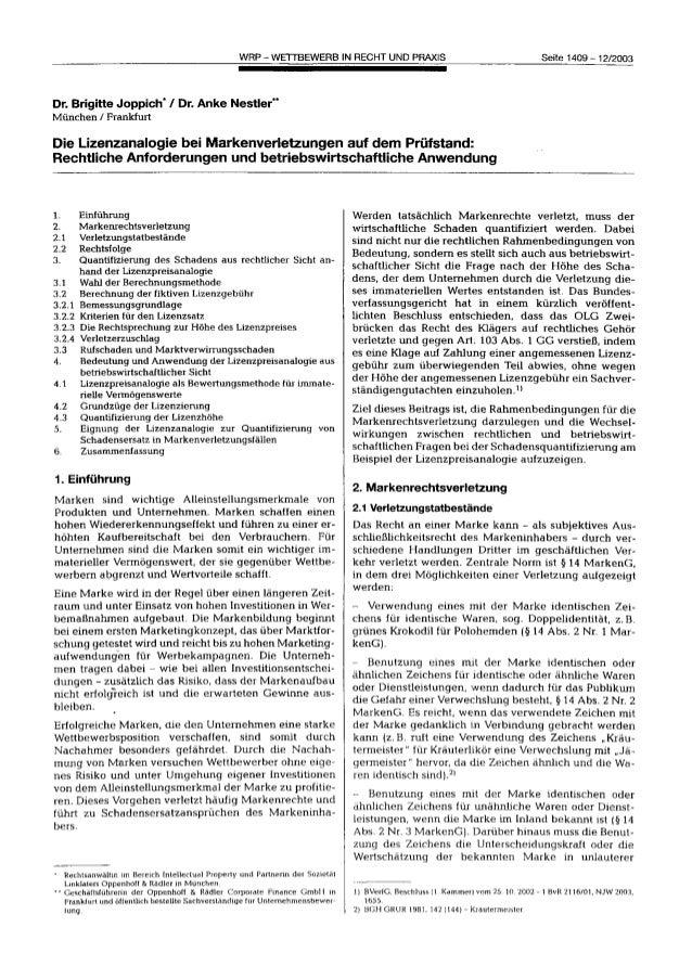 Die Lizenzanalogie bei Markenverletzungen auf dem Prüfstand: Rechtliche Anforderungen und betriebswirtschaftliche Anwendung