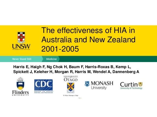 The effectiveness of HIA in Australia and New Zealand 2001-2005 Harris E, Haigh F, Ng Chok H, Baum F, Harris-Roxas B, Kemp...