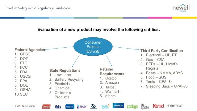 Product Safety & the Regulatory Landscape © 2017 Newell Brands Evaluation of a new product may involve the following entit...