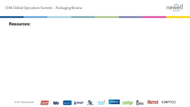 OARGlobal Operations Summit –Packaging Review © 2017 Newell Brands Resources: