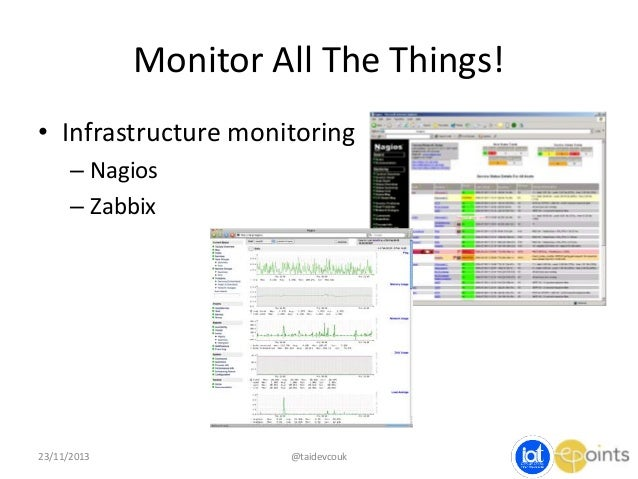 Monitor All The Things! • Infrastructure monitoring – Nagios – Zabbix  23/11/2013  @taidevcouk