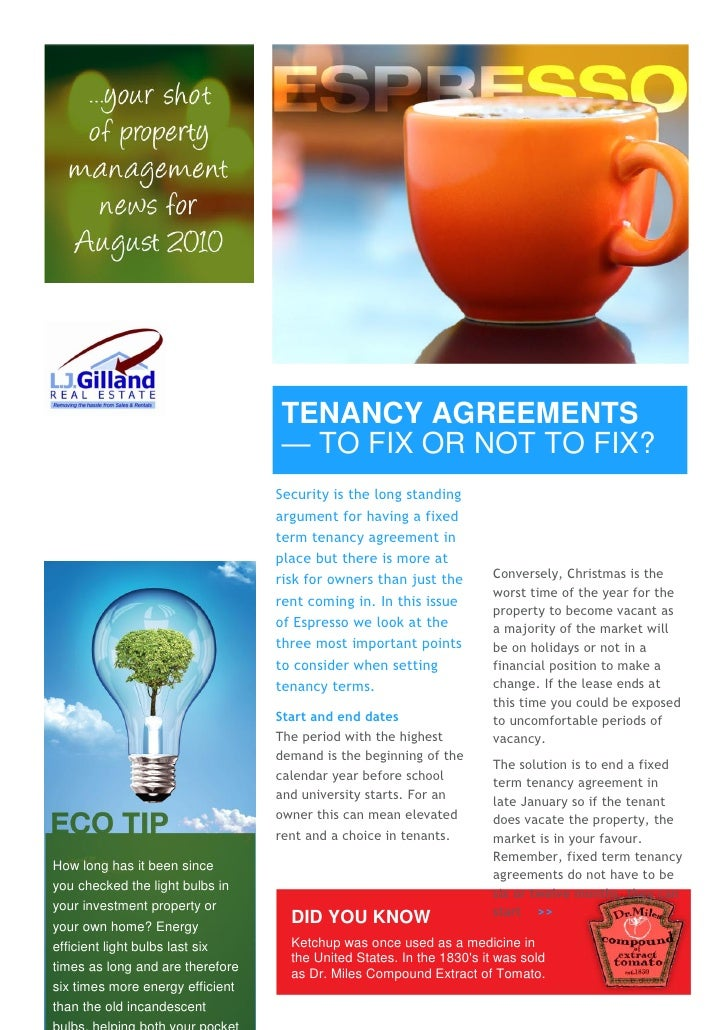 TENANCY AGREEMENTS                                   — TO FIX OR NOT TO FIX?                                   Security is...