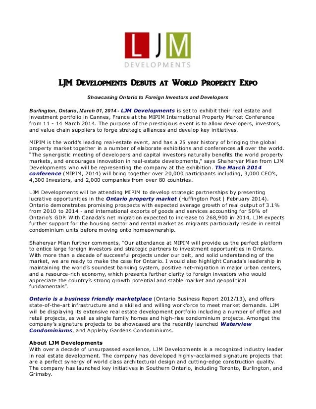 LJM Developments Debuts at World Property Expo Showcasing Ontario to Foreign Investors and Developers Burlington, Ontario,...