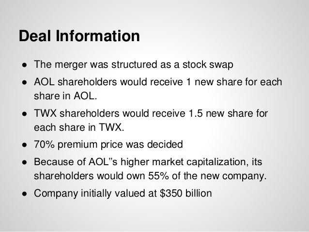 Deal Information ● The merger was structured as a stock swap ● AOL shareholders would receive 1 new share for each share i...