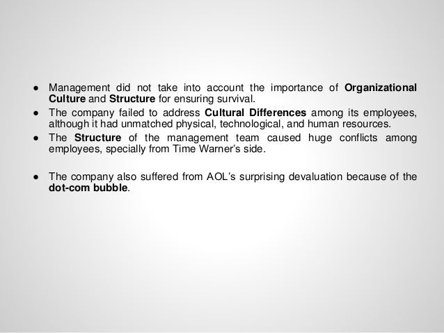 ● Management did not take into account the importance of Organizational Culture and Structure for ensuring survival. ● The...