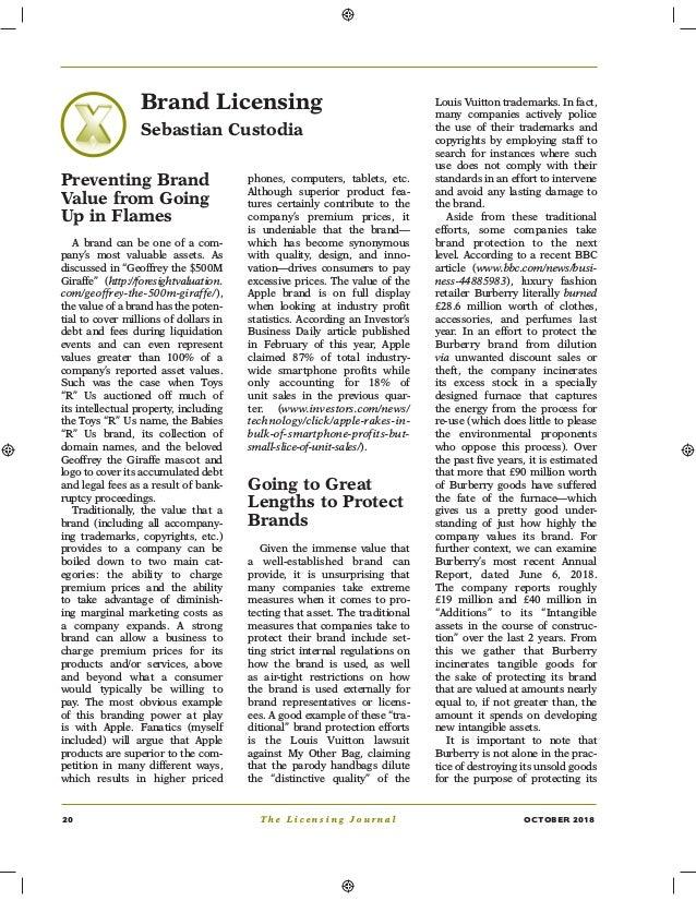 20 T h e L i c e n s i n g J o u r n a l OCTOBER 2018 Brand Licensing Sebastian Custodia Preventing Brand Value from Going...