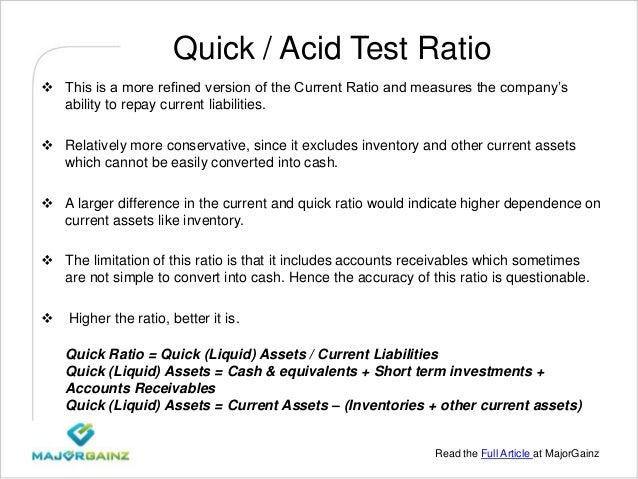 baderman s island resort liquidity ratio current ratio acid test or quick ratio receivables turnover Financial ratios professor: date of submission: introduction ratio analysis is a strategy used to aid in assessing the financial position of an.