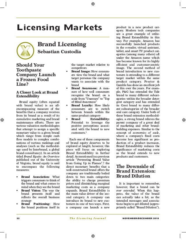 22 T h e L i c e n s i n g J o u r n a l NOVEMBER/DECEMBER 2018 Licensing Markets Brand Licensing Sebastian Custodia Shoul...