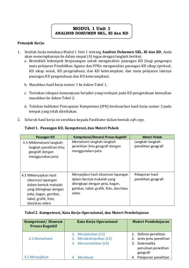 Petunjuk Kerja: 1. Setelah Anda membaca Modul 1 Unit 1 tentang Analisis Dokumen SKL, KI dan KD, Anda akan menerapkannya ke...