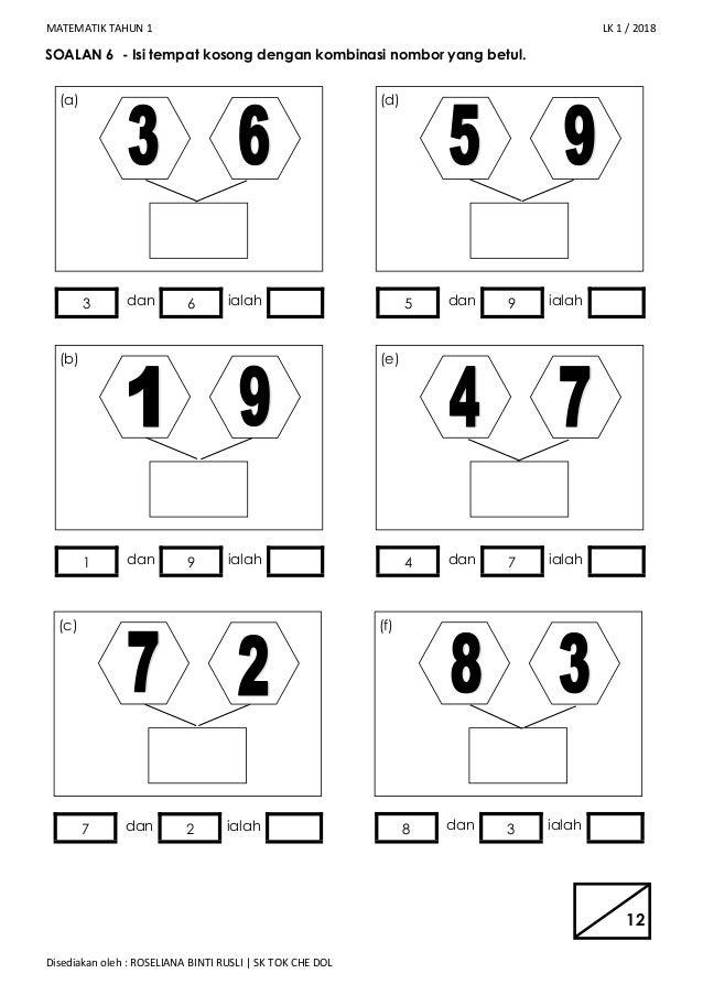 Soalan Matematik Tahun 1 Kombinasi Nombor Kuora V