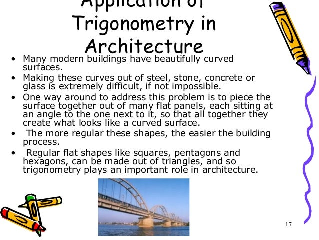 applications of trigonometry essay Trigonometric functions are based off of the unit circle, since the different angles and coordinates are used in the different functions trigonometry relates to triangles, their angles, and their sides, so it ma es sense that trigonometric functions can be used in right triangle trigonometry aside from being used as just functions.