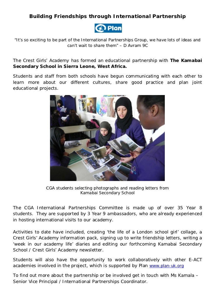 """Building Friendships through International Partnership""""It's so exciting to be part of the International Partnerships Group..."""
