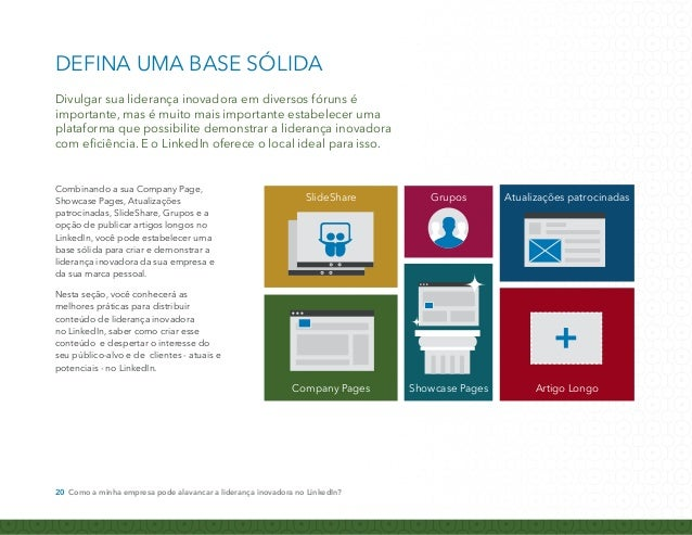 COMO DIVULGAR A LIDERANÇA  INOVADORA NO LINKEDIN  Use sua Company Page como ponto central  de liderança inovadora.  Mais d...