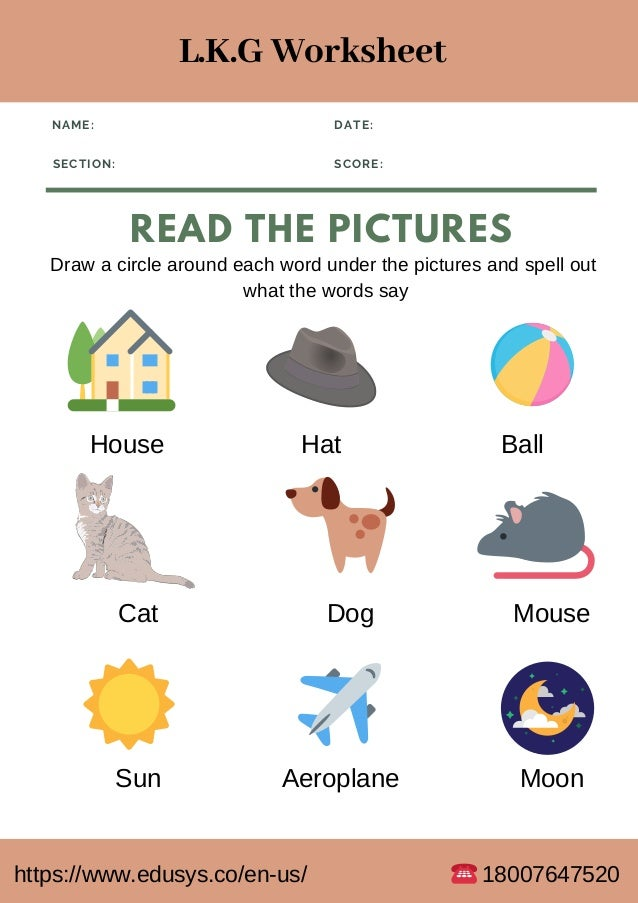 Lower Kindergarten English Worksheet Free Pdf