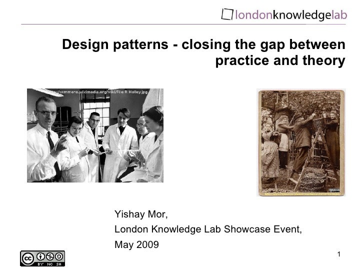 Design patterns - closing the gap between practice and theory Yishay Mor,  London Knowledge Lab Showcase Event, May 2009
