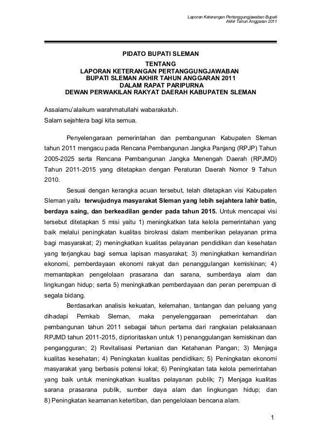Laporan Keterangan Pertanggungjawaban Bupati Akhir Tahun Anggaran 2011 PIDATO BUPATI SLEMAN TENTANG LAPORAN KETERANGAN PER...