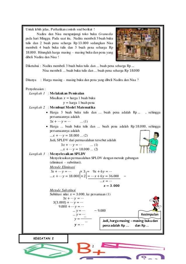Lks Penerapan Sistem Persamaan Linear Dua Variabel Spldv Smp Kelas