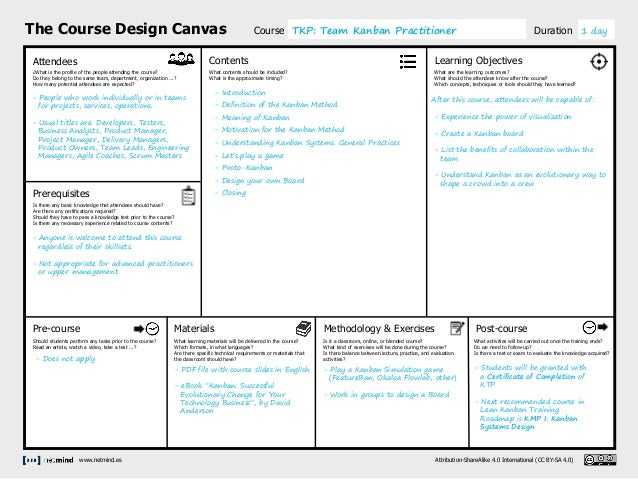 The Course Design Canvas Attendees Prerequisites Pre-course Contents Methodology & Exercises Learning Objectives Post-cour...