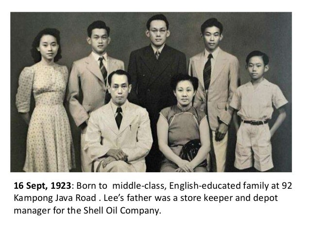 16 Sept, 1923: Born to middle-class, English-educated family at 92 Kampong Java Road . Lee's father was a store keeper and...
