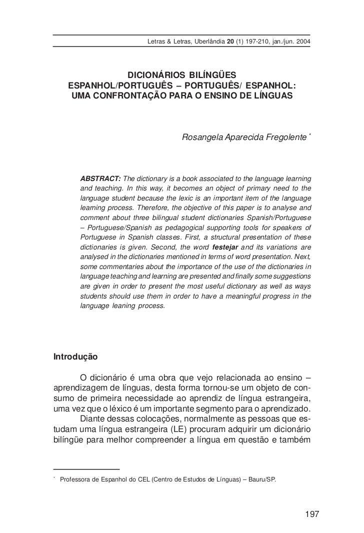 Letras & Letras, Uberlândia 20 (1) 197-210, jan./jun. 2004                 DICIONÁRIOS BILÍNGÜES      ESPANHOL/PORTUGUÊS –...