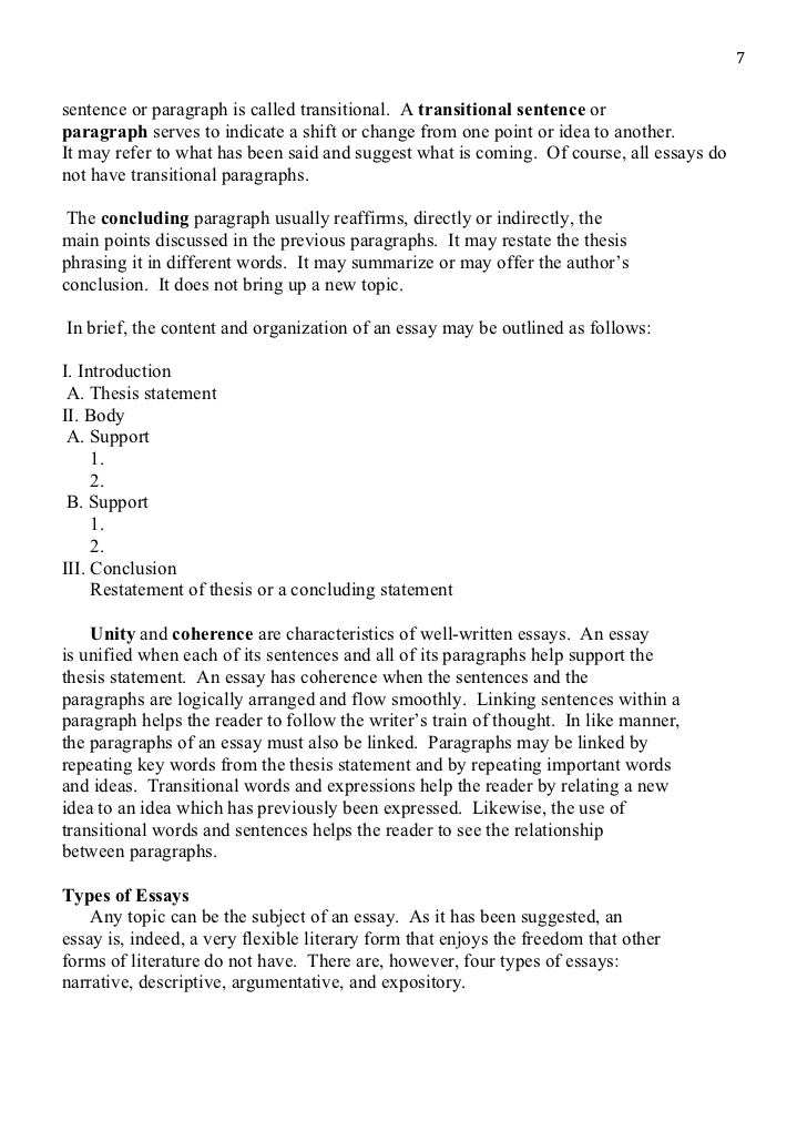 literary essay outline form