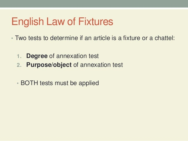 13. English Law Of Fixtures ...