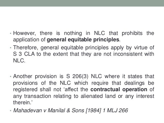 Land Law 1 The National Land Code 1965