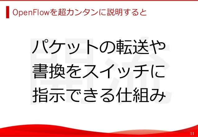 11 開流   OpenFlowを超カンタンに説明すると   パケットの転送や 書換をスイッチに 指⽰示できる仕組み