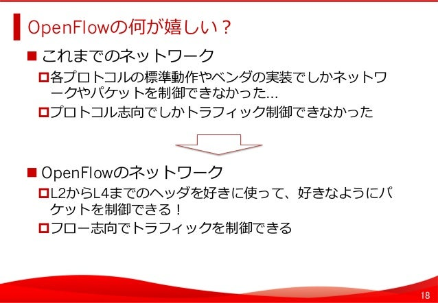 18 OpenFlowの何が嬉しい?   これまでのネットワーク 各プロトコルの標準動作やベンダの実装でしかネットワ ークやパケットを制御できなかった… プロトコル志向でしかトラフィック制御できなかった OpenFlowの...