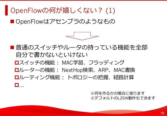 19 OpenFlowの何が嬉しくない? (1)   OpenFlowはアセンブラのようなもの 普通のスイッチやルータの持っている機能を全部 ⾃自分で書かないといけない スイッチの機能: MAC学習、フラッディング ルータ...