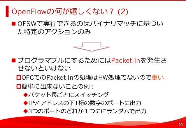 20 OpenFlowの何が嬉しくない? (2)   OFSWで実⾏行行できるのはバイナリマッチに基づい た特定のアクションのみ プログラマブルにするためにはPacket-Inを発⽣生さ せないといけない OFCでのPacke...