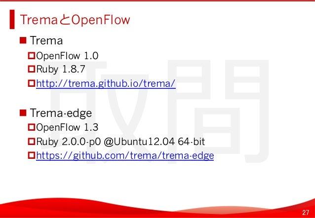 27 取間   TremaとOpenFlow   Trema OpenFlow 1.0 Ruby 1.8.7 http://trema.github.io/trema/ Trema-edge OpenFlow ...