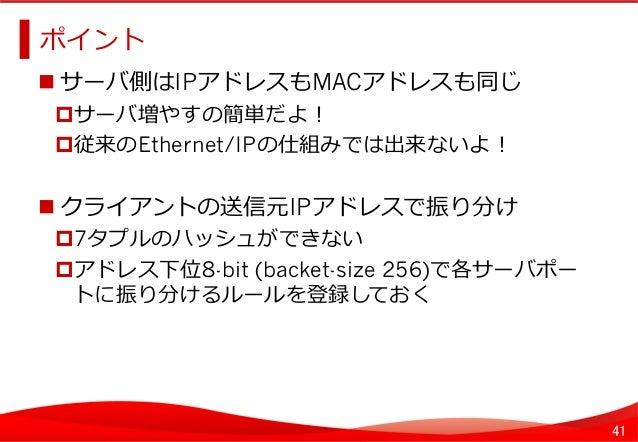 41 ポイント   サーバ側はIPアドレスもMACアドレスも同じ サーバ増やすの簡単だよ! 従来のEthernet/IPの仕組みでは出来ないよ! クライアントの送信元IPアドレスで振り分け 7タプルのハッシュができない...