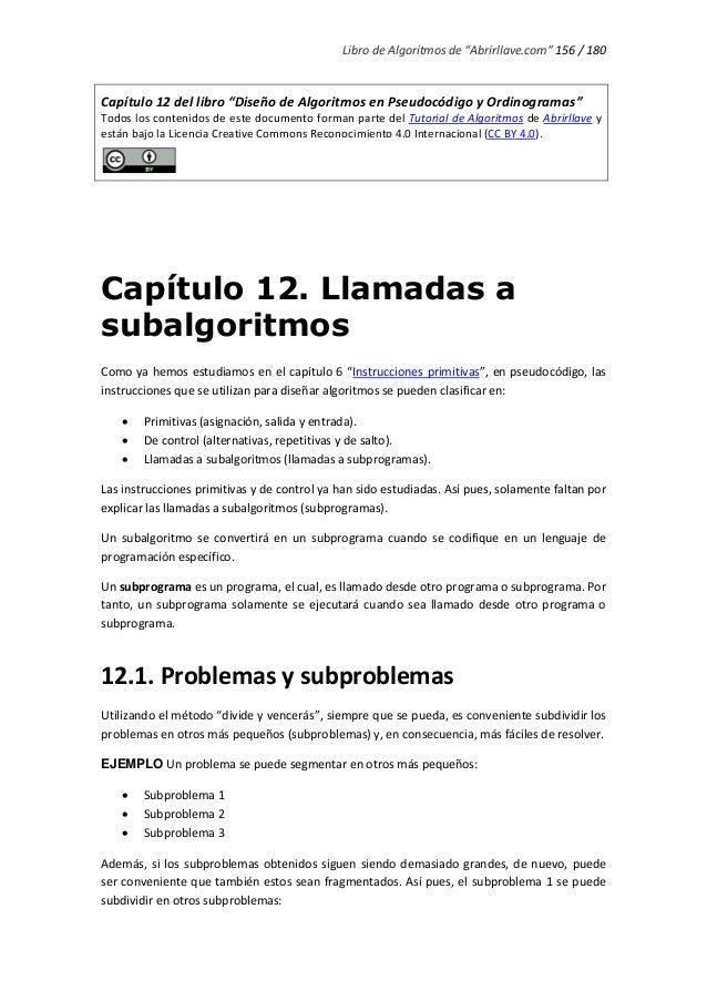 """Libro de Algoritmos de """"Abrirllave.com"""" 156 / 180 Capítulo 12 del libro """"Diseño de Algoritmos en Pseudocódigo y Ordinogram..."""