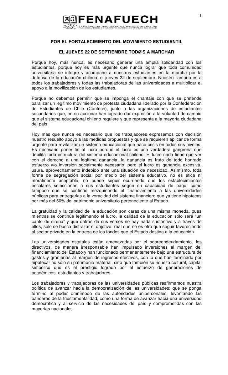 1         POR EL FORTALECIMIENTO DEL MOVIMIENTO ESTUDIANTIL             EL JUEVES 22 DE SEPTIEMBRE TOD@S A MARCHARPorque h...