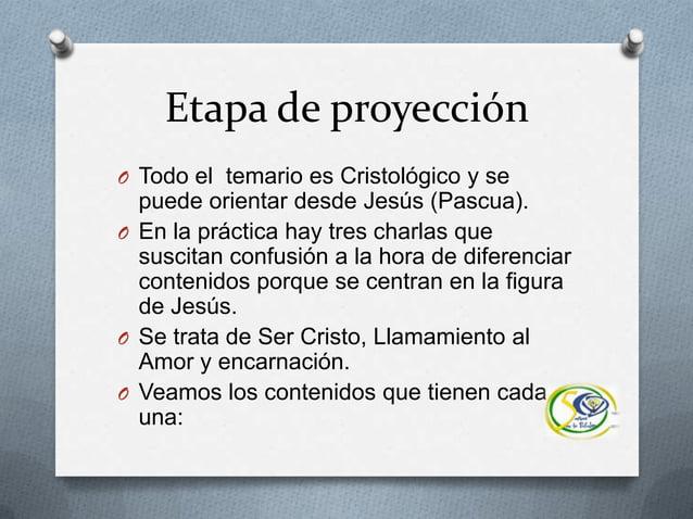 Etapa de proyecciónO Todo el temario es Cristológico y sepuede orientar desde Jesús (Pascua).O En la práctica hay tres cha...