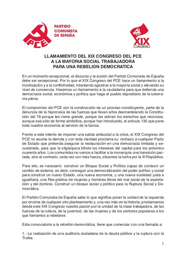 Llamamiento XIX Congreso PCE