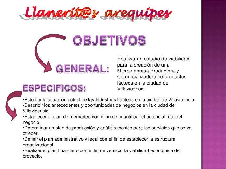 Llanerit@s  arequipes<br />OBJETIVOS<br />Realizar un estudio de viabilidad para la creación de una Microempresa Productor...