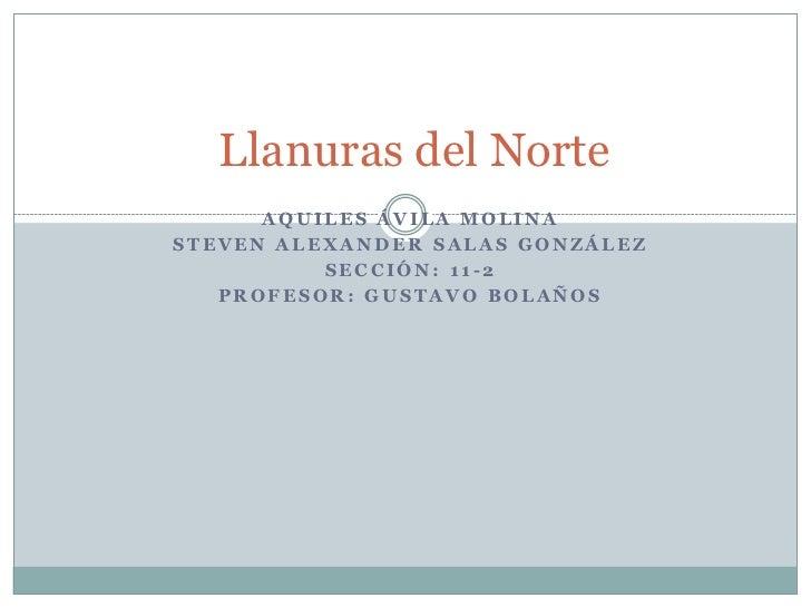Llanuras del Norte      AQUILES ÁVILA MOLINASTEVEN ALEXANDER SALAS GONZÁLEZ          SECCIÓN: 11-2   PROFESOR: GUSTAVO BOL...