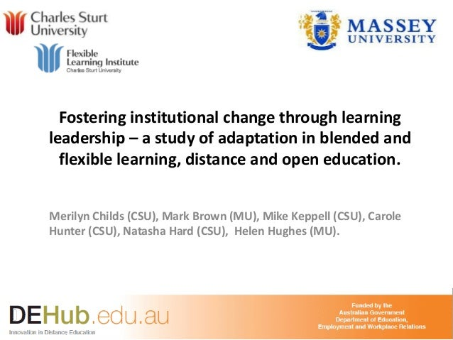 Fostering institutional change through learning leadership – a study of adaptation in blended and flexible learning, dista...