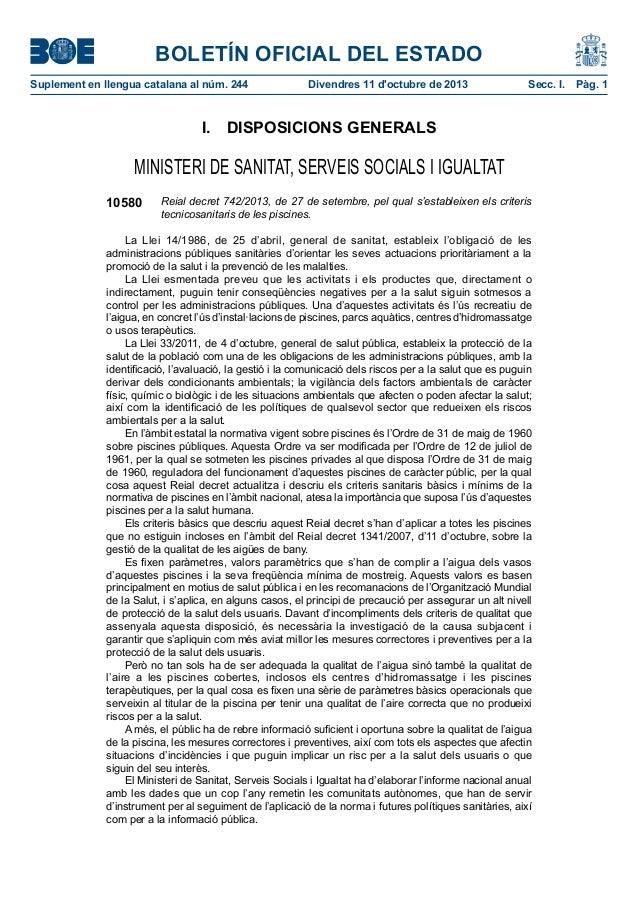BOLETÍN OFICIAL DEL ESTADO Suplementenllenguacatalanaalnúm.244 Divendres11d'octubrede2013 Secc.I. Pàg.1 I. D...